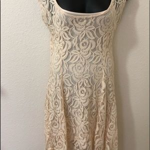 American Rag Ivory Lined Womens Lace Dress Size M